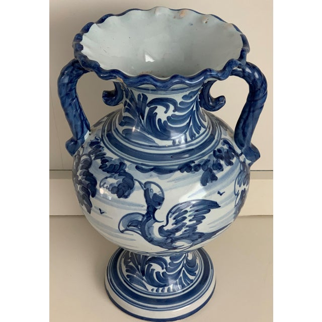 Late 19th Century 20th Century Glazed Earthenware Spanish Blue and White Painted Urn, Vase For Sale - Image 5 of 13