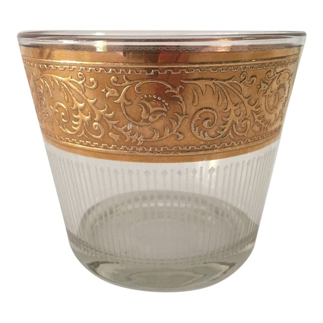 1960s Hollywood Recency Rose Gold & Clear Glass Ice Bucket For Sale