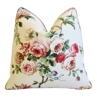 "Brunschwig & Fils Floral Botanical Roses Feather/Down Pillow 21"" Square For Sale"