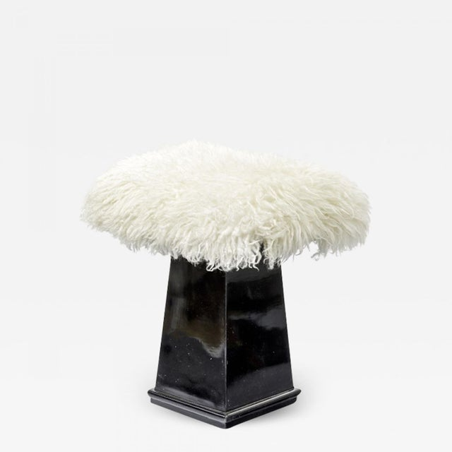 Spectacular Danish Stool in Black Lacquered Wood and Real Fur For Sale - Image 4 of 4
