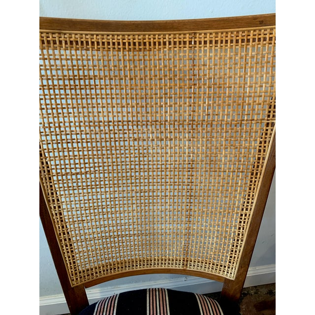 Vintage French Cane Back Chairs With Upholstered Seats - Set of 4 For Sale In Los Angeles - Image 6 of 8