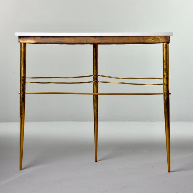 Mid Century Italian Brass Demilune Console With White Marble Top For Sale In Detroit - Image 6 of 12