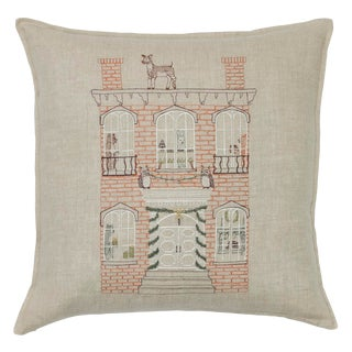 French Country Linen Brick Townhouse Pillow For Sale