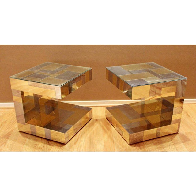 Modern Modern Pair of Paul Evans by Brass Chrome Cityscape Nightstands Side End Tables For Sale - Image 3 of 9
