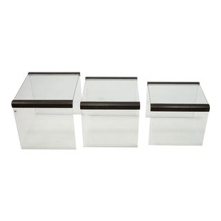 Pierangelo Galloti 3 Nested Glass Side Tables For Sale