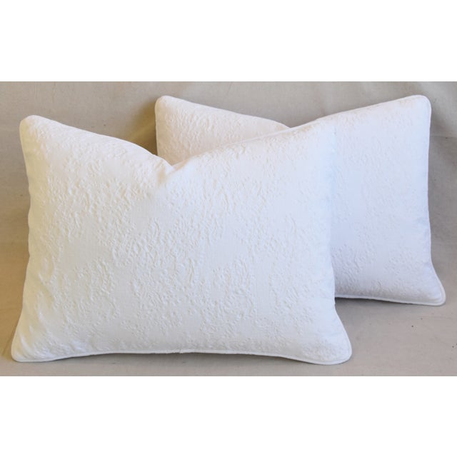 "White French Provençal Quilted Feather/Down Pillows 23"" X 17"" - Pair For Sale - Image 8 of 13"