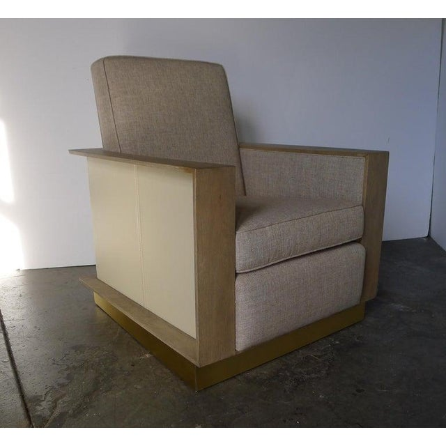 Leather wrapped Max Modern Chair by Paul Marra. Sides and back wrapped in cream leather with top-stitching. Other...