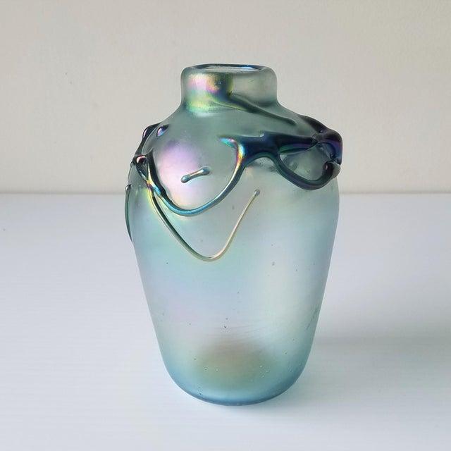 1977 Peter Vizzusi Iridescent Glass Vase, Signed For Sale - Image 4 of 11