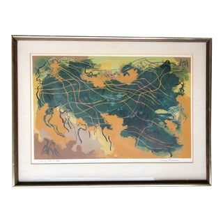 Mid Century Abstract Serigraph Signed Print For Sale