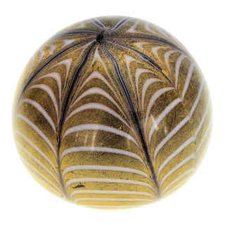 1950s Murano Glass Gold White and Black Fenicio Paperweight For Sale