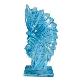 1960s Figurative Carved Blue Stone Indian Head For Sale