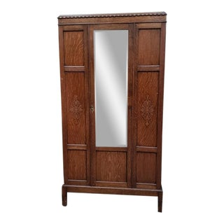 English Oak Single Door Robe W/ Mirror C.1920s For Sale