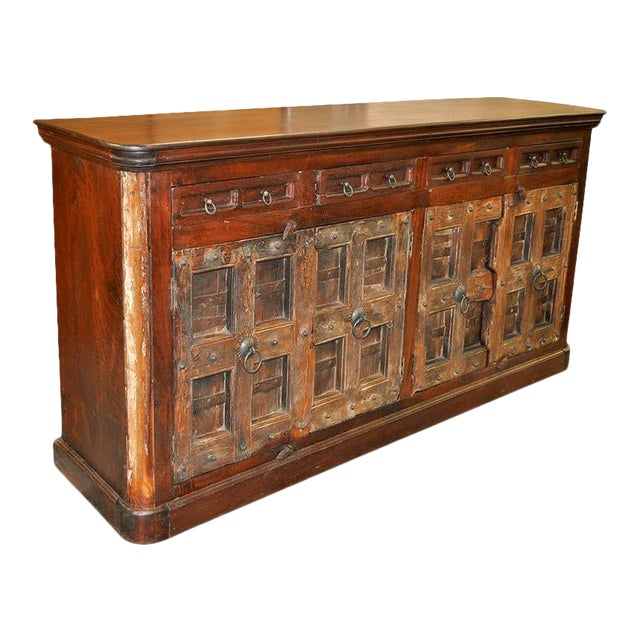 Antique Spanish Colonial Rustic Door Cabinet Buffet For Sale