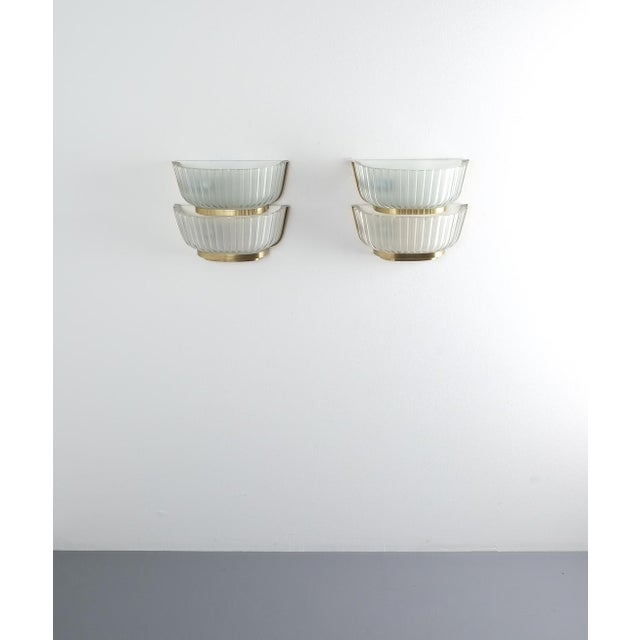 Pair of Late Art Deco Glass and Brass Sconces Refurbished, Italy, Circa 1940 For Sale - Image 9 of 12