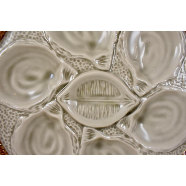 French St. Clément French Gray Shell, Rope & Lemon Oyster Plate For Sale - Image 3 of 10
