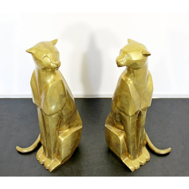 Mid Century Modern Pair of Bronze Brass Cheetah Cat Table Sculptures For Sale - Image 4 of 12
