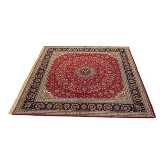 Red Sarouk Pattern Wool Room Size Rug - 8' x 8'