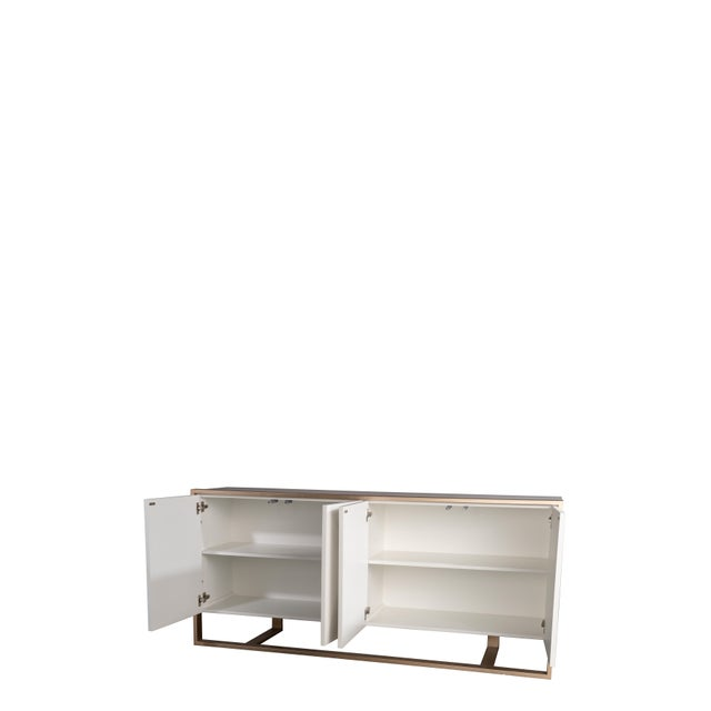 Cleo Spike Wood Cabinet in White For Sale - Image 4 of 8