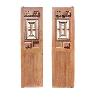 Chinese Vintage Dimensional Scroll Carving Wood Door Panels - A Pair For Sale