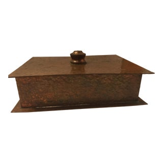 Arts & Crafts Copper Box Natural Patina For Sale