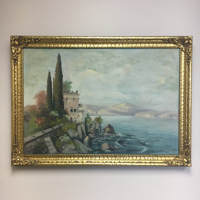 This is a vintage original oil painting signed by Baron Chisholm c. 1940, believed to be of a European coastline. The...