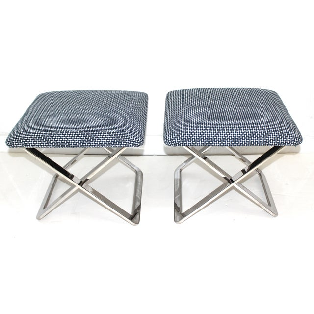 Mid-Century Modern Milo Baughman Attributed X-Stools - a Pair For Sale - Image 9 of 11