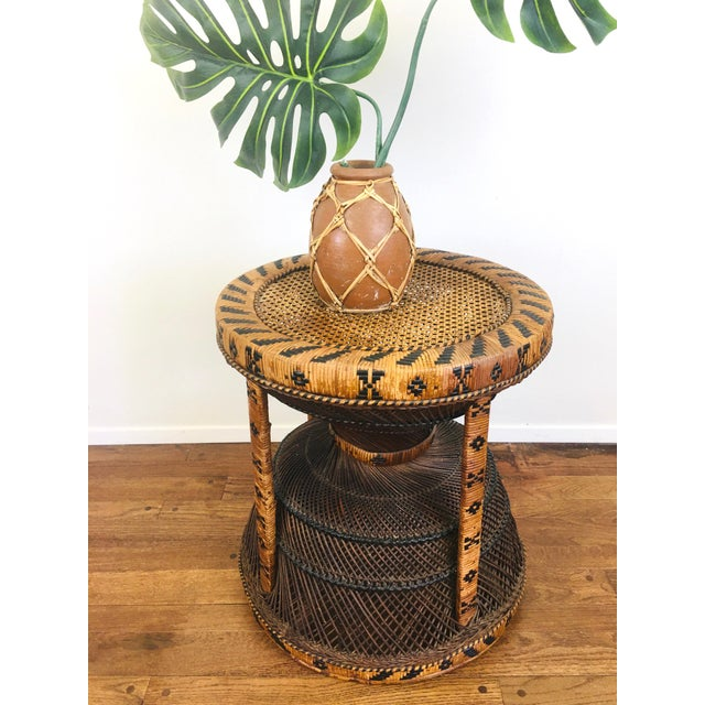 Vintage Bohemian Chic Rattan / Wicker Peacock Table For Sale - Image 4 of 6