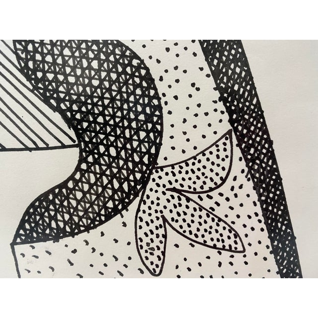 Black Mid-Century Modern 1969 Series III Pen-Ink Abstract Painting by Listed Artist Rene Marcel Gruslin For Sale - Image 8 of 12
