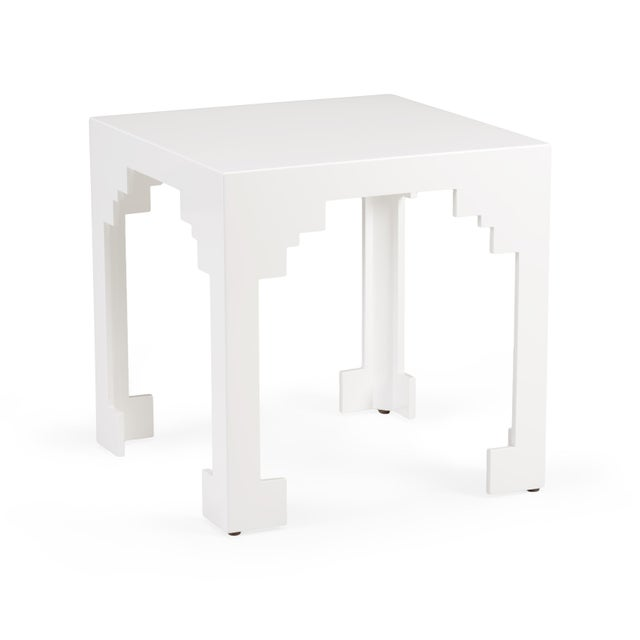 Contemporary Cut Corner Table in White For Sale - Image 3 of 3