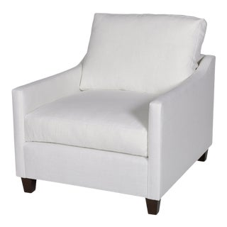 Moss Home Megan Chair Safari Optic White Linen For Sale
