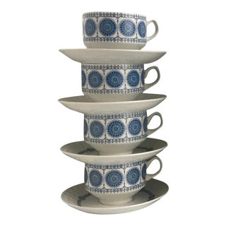 Mid 20th Century Pontesa Granada IronStone Cups & Saucers - Service for 4 For Sale