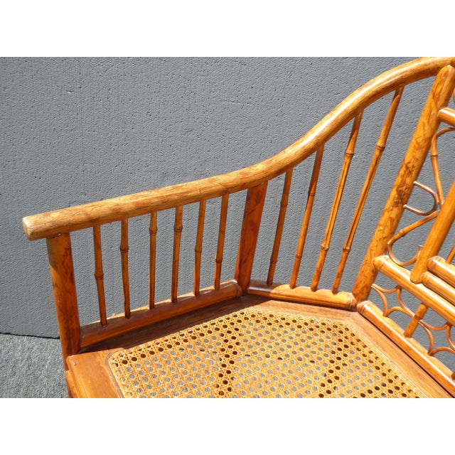 Rattan Vintage Chinoiserie Brighton Pavillion Style Rattan Bamboo & Cane Arm Chair For Sale - Image 7 of 11