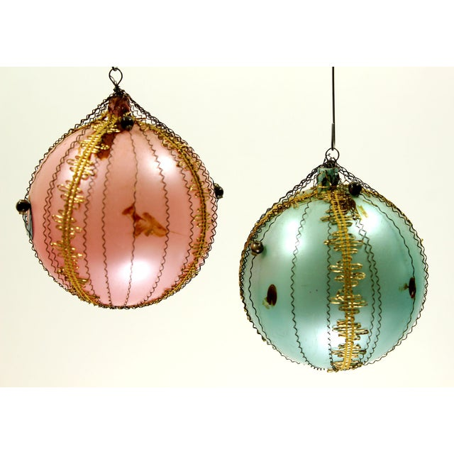 Ornate Vintage European Tree Ornaments - Set of 4 - Image 3 of 4