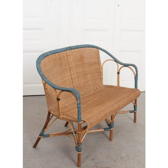 Vintage French Woven-Rattan Settee For Sale In Baton Rouge - Image 6 of 11
