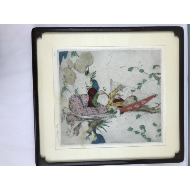 Original framed Elyse Ashe Lord ( 1900-1971) hand painted engraving. Enchanting still life of daffodils,lilacs, and...
