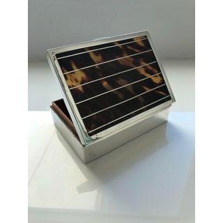 English Art Deco Tortoiseshell Sterling Silver Box Preview