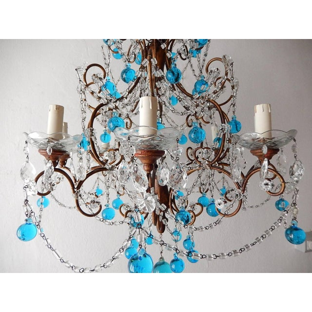 Blue French Blue Murano Balls Beaded Swags Chandelier, circa 1900 For Sale - Image 8 of 13