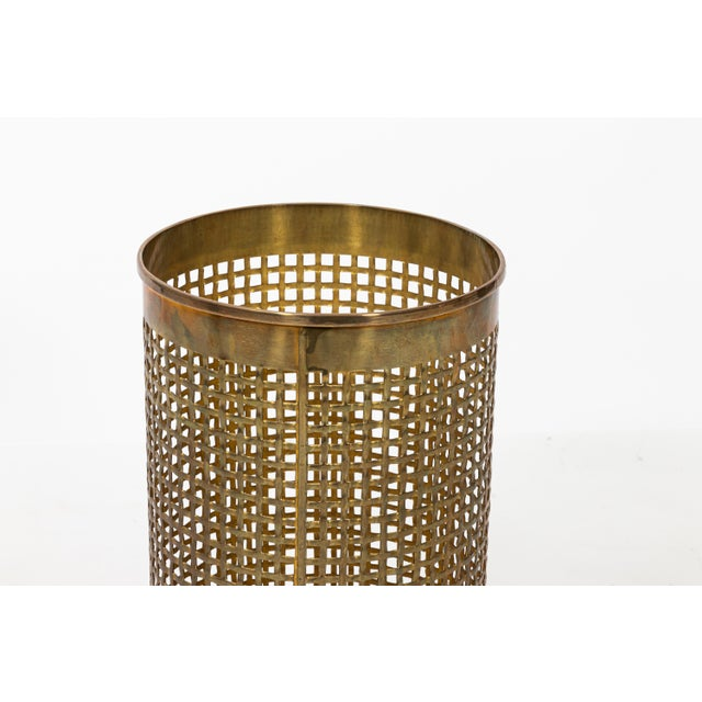 1970s Solid Brass Basket Weave Umbrella Stand For Sale - Image 5 of 6