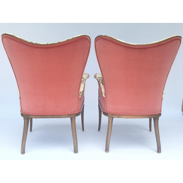 Carved French Hollywood Regency Style Butterfly Wing Chairs For Sale In Buffalo - Image 6 of 10