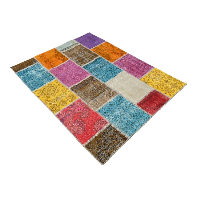 Turkish Handmade Patchwork Rug - 4′7″ × 5′9″ For Sale