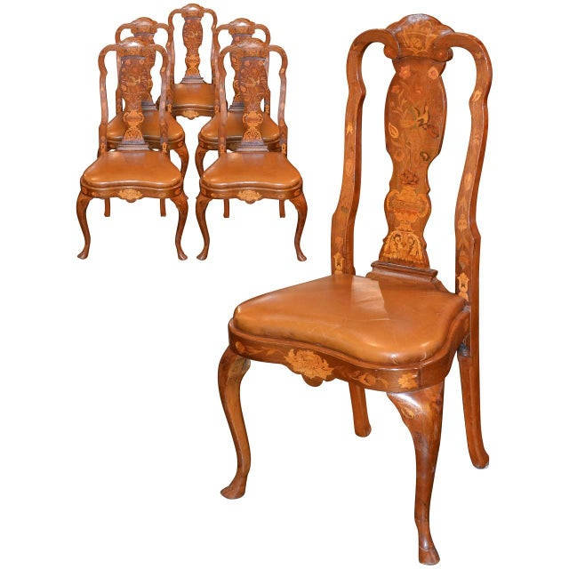 Set of Six 19th Century Dutch Marquetry Inlaid Dining Chairs For Sale - Image 11 of 11