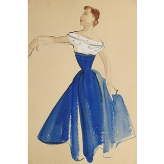 Lydia, Vintage Gouache Fashion Sketch - Blue and White Dress For Sale