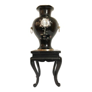 Black Cloisonne Pearl Inlay Vase on Stand For Sale