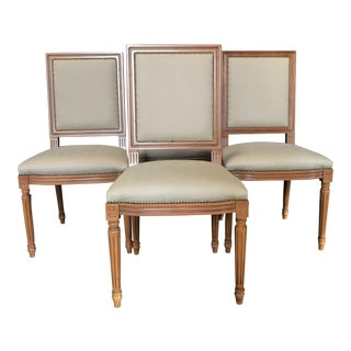 Louis XVI Style Walnut & Upholstered Dining Chairs- Set of 4 For Sale
