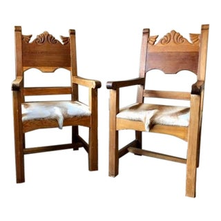 1990s Traditional Genuine Antelope Hide Arm Chairs - a Pair For Sale