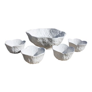 Vintage Majolica Style White Cabbage Leaf Bowls For Sale