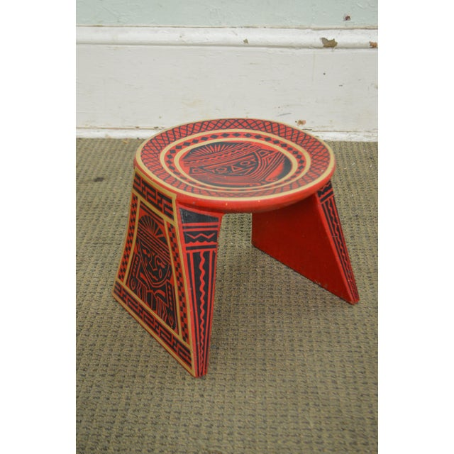 Vintage Hand Painted Aztec Tribal Stools - A Pair - Image 4 of 10