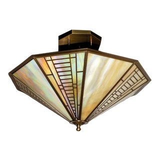 Vintage Fredrick Ramond Mission Style Stained Glass Light Fixture For Sale