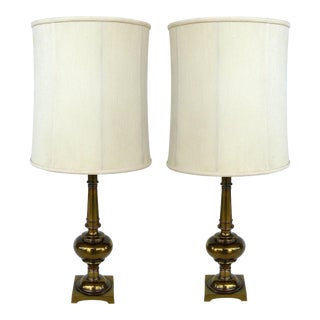Stiffel Brass Table Lamps with Original Stiffel Shades - a Pair For Sale