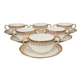 1930s Cauldon Ltd, for Rich-Briggs Cream/Bouillon Cups & Saucers - Set of 6 For Sale